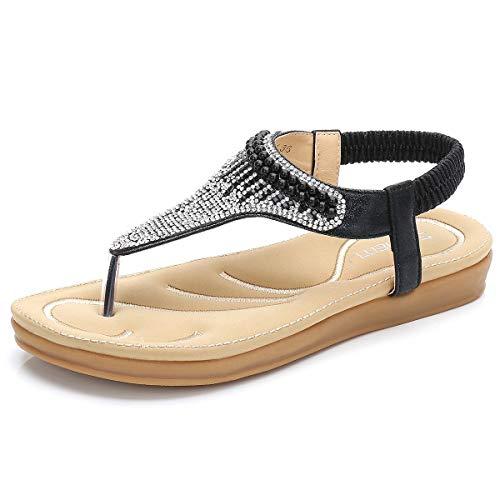 SAIJING Women's Comfy Flat Thong Sandals BohemianSlip on Flip Flop T-StrapSandal Glitter RhinestoneSummer Beach Dress Shoes with Elastic Slingback Black Size 9 ()