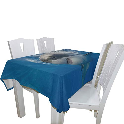 (Fierce Great White Shark 100% Polyester Tablecloth Printed Dining Room Kitchen Rectangular Round Table Cover Tabletop Decor 60x108 Inch Washable)