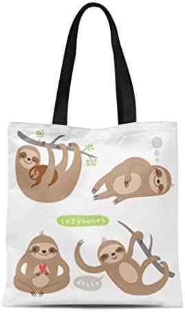 Semtomn Canvas Tote Bag Shoulder Bags Baby Animal Sloths Funny and Cute Lazy Mother Eating Women's Handle Shoulder Tote Shopper Handbag