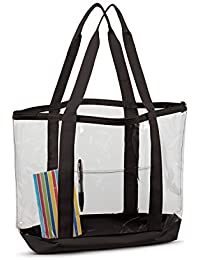 Contrasting Strap Large Clear Zipper Tote Bag
