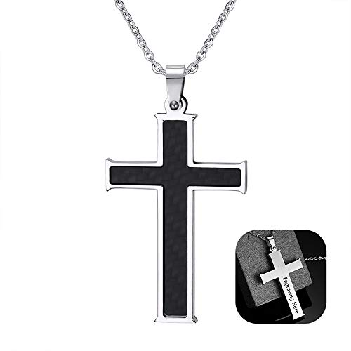 Fortheday Personalized Cross Pendant Necklace for Men Women Adjustable Chain Stainless Steel Religion Cross Lord's Prayer