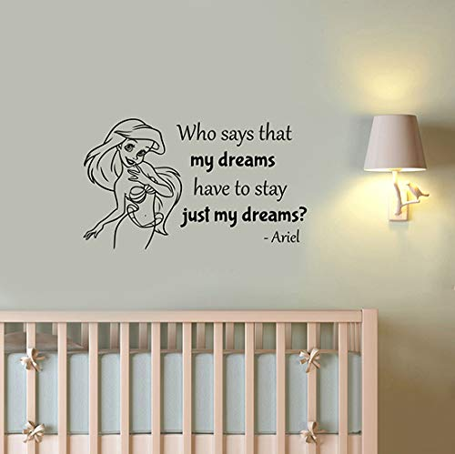 Who Says That My Dreams Little Mermaid Quote Wall Decal Princess Ariel Vinyl Sticker Saying Art Cartoon Decorations for Home Kids Baby Girl Room Nursery Decor lmer9 Ariel Dreams Wall Art