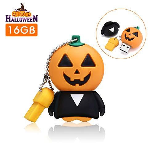 Halloween Pumpkin USB Flash Drive 16GB, MECO Thumb Drive USB 2.0 Funny Pumpkin Rubber Cartoon Memory Stick Halloween -