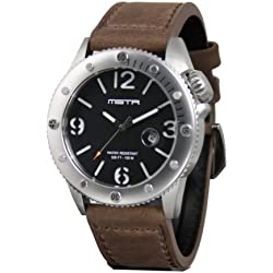 Meister Watches / MSTR Watches Men's Marine Watch | MA101LB | Silver & Brown | Stainless-Steel Case And Leather Band