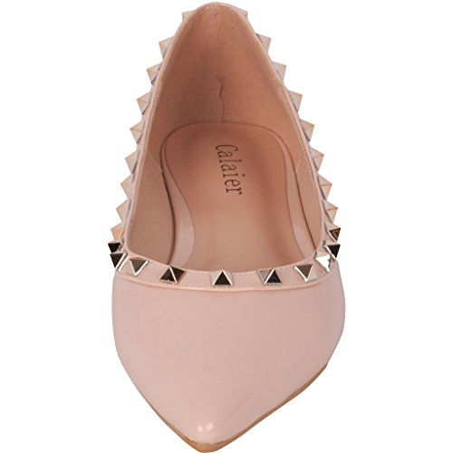Flat 2016 on 5CM 0 Flats Toe Camusician Designer Footwear Women Shoes Luxury Creepers Pointed Loafers Slip Studded Calaier Pink Rivet ZRFEgxEwq