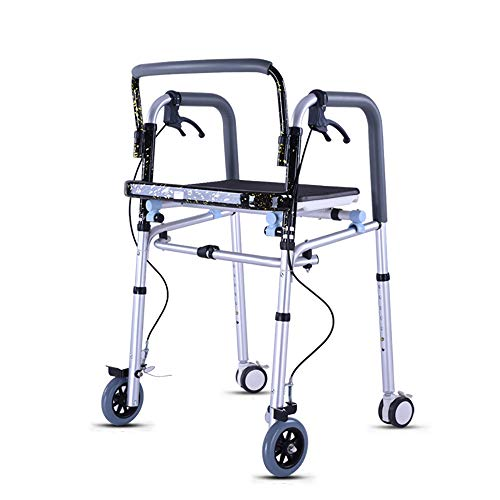 HSRG Andador Plegable con Ruedas, con Placa de Asiento y Freno, para andadores estándar y Personas Mayores con discapacidad