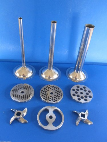 Meat Grinder Set 9-pc Plates Knives Sausage Tubes Size #22