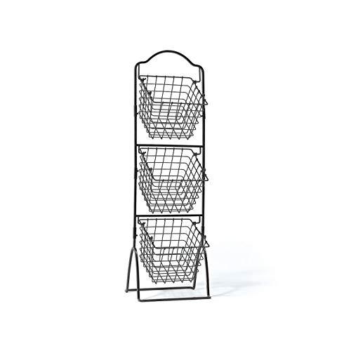K-Cliffs 2 Tier 3 Tier Wire Basket Shelving for Kitchen Fruit Storage Market Organization   Brushed Antique Black