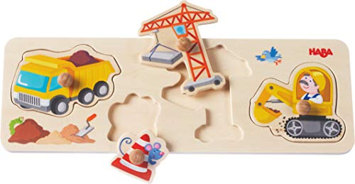 HABA Building Site Clutching Puzzle - 4 Piece Jumbo Knob Wooden Puzzle for Ages 1 and Up ()