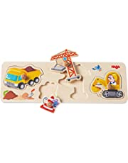 HABA 301943 - grijppuzzel op de bouwplaats, 4-delige houten puzzel met kleurrijke bouwplaatsmotieven en stevige houten knoppen, houten speelgoed vanaf 12 maanden