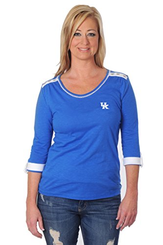 ts Women's Roll-Up Top, Large, Royal Blue/Grey/White (Kentucky University Embroidery)