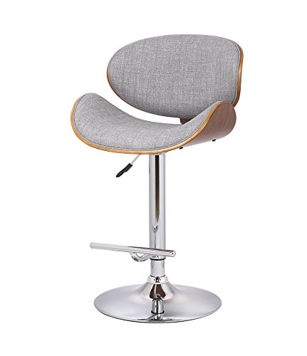 US Pride Furniture Modern Fabric Upholstered Adjustable Swivel Bar Stool With Chrome Plated Base Finish Gray/Walnut (Chrome Wide Bar Stool)