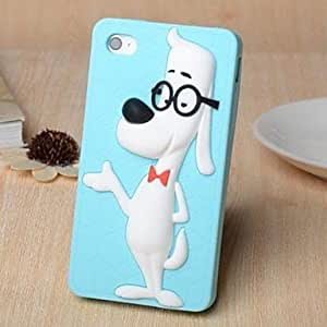 PEACH- 3D Cartoon Dog Wearing Glasses Pattern Silicone Rubber Case for iPhone 4/4S (Assorted Colors) , Rose