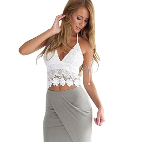 Bra Top ,Beautyvan Comfortable Women Lace Crochet Halter Crop Tank Summer Beach Tops Blouse (S, White)
