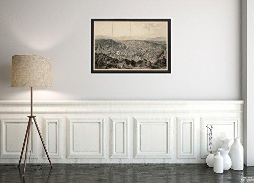 New York Map Company (™) 1860–1869 Map Italy|Lazio|Roma Aspect général de Rome|Vintage Fine Art Reproduction|Ready to Frame 1860 Italy Antique