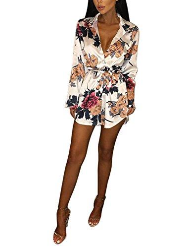 Women's Floral Print Belted Blouse Button Down Shirt Dress Long Sleeve Irregular Hem Large (Belted Print Blouse)
