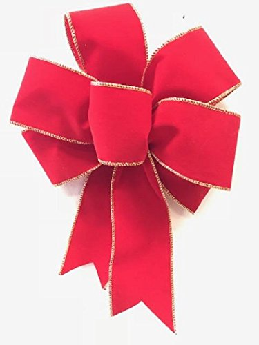 (Wired Red and Gold Velvet Christmas Bow Handmade Holiday Bow 8 - 9 Inches in Diameter - Red Hand Made Bow By Wreaths For Door)