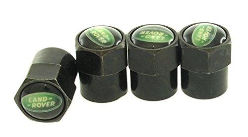 Land Rover Black Metal Tire Valve Stem Cap Black 4 PC Fits All Models