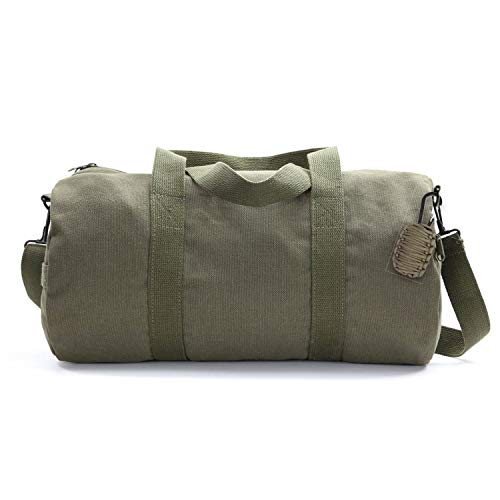 Heavyweight Canvas Duffel Bag, Olive, Large with FREE Paracord Survival Tool For Sale