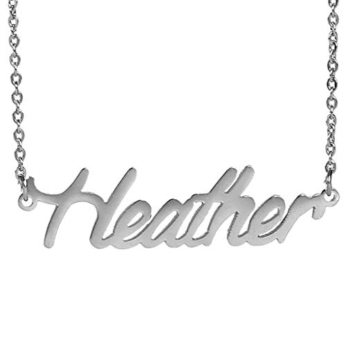 AIJIAO Steel Script Nameplate Name Necklace Personalized Choker Women Gift/Heather ()