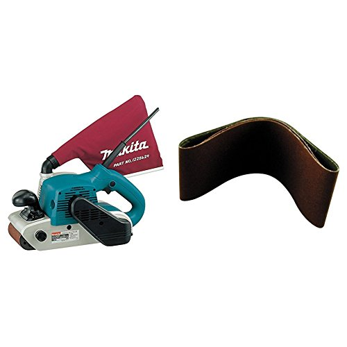 """Makita 9403 4"""" x 24"""" Belt Sander with Cloth Dust Bag with Makita 742320-3 4-by-24-Inch 40-Grit Abrasive Sanding Belt, 10-Pack"""