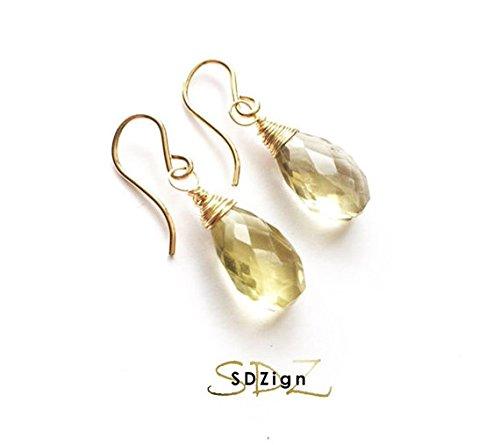 Gold & Lemon Quartz Simple Drop Earrings - Lemon Drop Quartz
