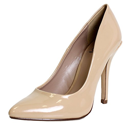 Delicious Women's Cindy Pointy Toe Velvet Single Sole Classic Pump Dark Beige Patent 9 ()