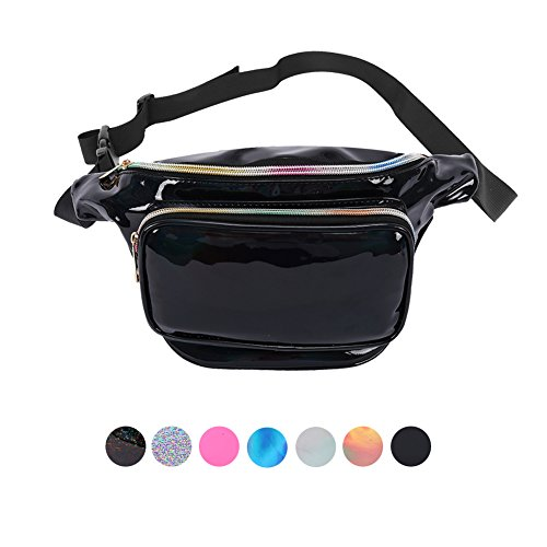 Compact Fanny Pack - Holyami Fashion Holographic Fanny Pack for Women Men-Waterproof Travel Waist Packs Bum Purse Bags for Rave, Festival,Hiking