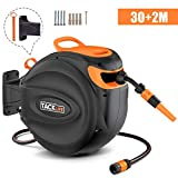 TACKLIFE Hose Reel, 30+2m Wall-Mounted Hose Reel roll-up Automatic: Swivelling Auto Hose, Including 30m Quality Hose, Wall Bracket Spray Nozzle, Any Length Lock - GHR2A