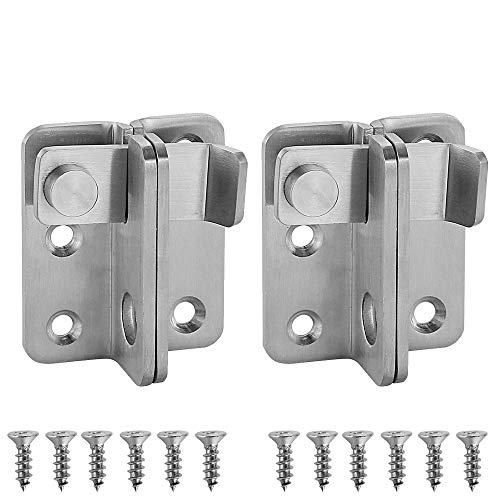(JQK Flip Latch, (Extra Thick 3mm) Stainless Steel Heavy Duty Gate Latcher Door Latch with Safety Packlock Hole,2 Pack Brushed Finish, DL150-BN-P2)