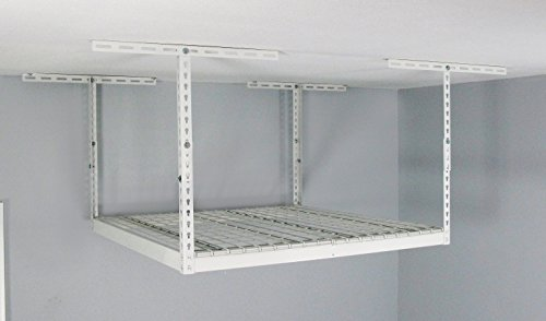 MonsterRAX Overhead Garage Storage Rack (24'' to 45'' Ceiling Drop), 4' x 4', White by MonsterRax