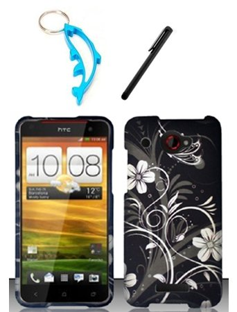 3 Items Combo For HTC Droid DNA 6435 (Verizon) Black White Flowers 2D Design Hard Case Snap On Protector Cover + Free Stylus Pen + Free Alloy Beer Bottle Opener Dolphin (Cover Htc Droid Dna 6435)