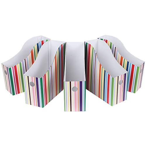 Home-X Colorful Striped Magazine File Holders (Set of 5)