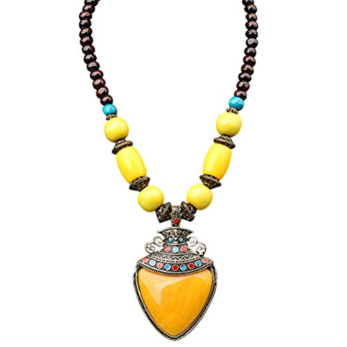 SUMAJU Pendant Beaded Necklace, Vintage Big Charms Drop Heart Shape Pendant Wood Beaded Enamel Collar Statement Necklace