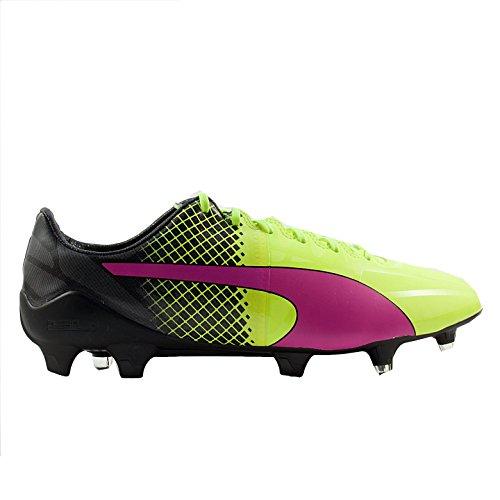Puma Hombres Evospeed 1.5 Tricks Fg Pink Glo / Calzado De Fútbol Amarillo / Negro De Seguridad