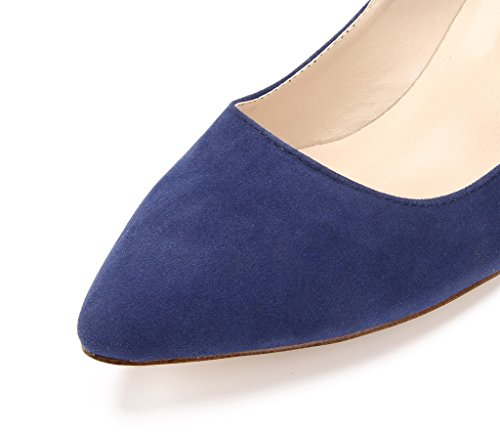 Katypeny Women's Vintage Shallow Mouth Slip On Pointed Toe Stiletto Mid Heel Pump Shoes Blue hmGuFD61Jy