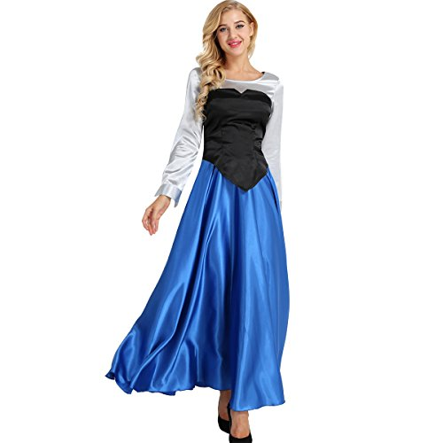 TiaoBug Women's Adult The Little Mermaid Ariel Cosplay Costume Set Princess Dress Colorful Small]()