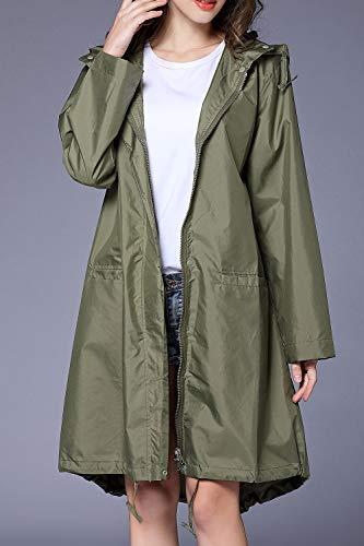 Abrigo Capucha Yacun Con La Aire Armygreen Lluvia Mujer Al De Gabardina Poncho Libre Impermeable p6q7pwv