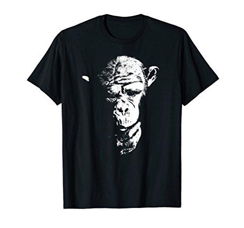 (Chimpanzee T Shirt Thinking Monkey, Ape, Cool Chimp Tee)