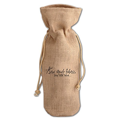I Sew Much Fabric Sew Little Time Burlap Wine Drawstring Bag by Style in Print