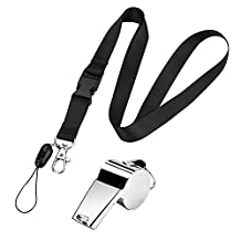 eBoot Stainless Steel Sport Coach Whistle with Black Detachable Buckle Lanyard