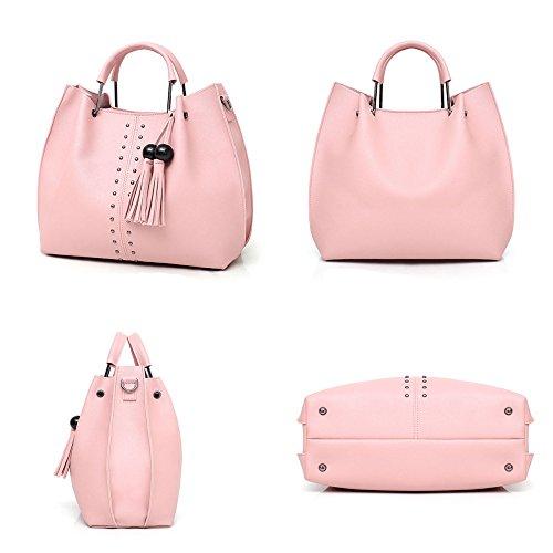 Lady Tassel Bag Pcs Shoulder Pu Purse Pink Leather Sets Handbag Bags Satchel Tote Crossbody Womens 3 qvzxwBB4