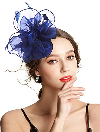 (Z&X Fascinator Hat Flower Feathers on Headband and Clip Tea Party Headpiece for Ladies Girls Navy Blue)