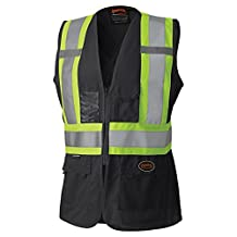 Pioneer V1021870-M High Visibility Women's Safety Vest, Black, Medium