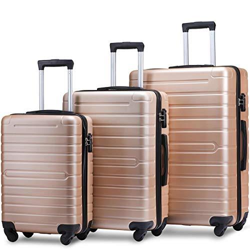 Flieks Luggage Set 3 Piece with TSA Lock Light Weight Hardside Spinner Suitcase (Golden)