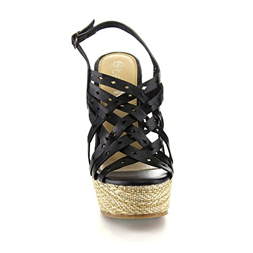 Betani Iveth-8 Kvinnor Mode Strappy Ihåliga Ut Sling Tillbaka Plattform Wedge Sandal, Svart, 9
