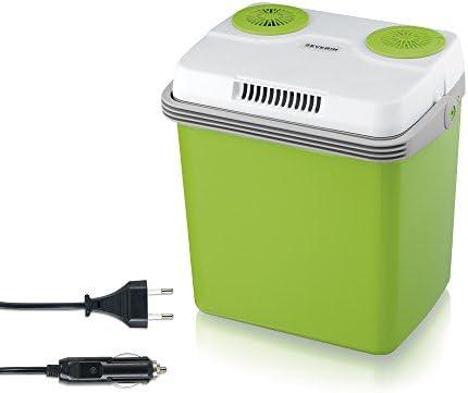 Severin KB 2922 Nevera Eléctrica Portátil con Función de Enfriamiento y de Preservación del Calor, 20 L, Incl. 2 Tomas de Corrient: 220-240 V / 12 V Dc, Verde - Gris[Clase de eficiencia energética A++]