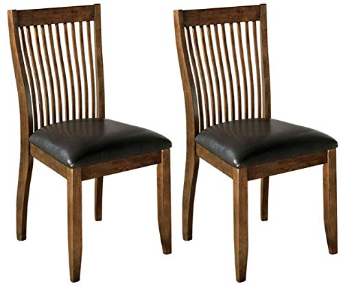 Ashley Furniture Signature Design - Stuman Dining Side Chair - Comb Back - Set of 2 - Brown Base and Black Upolstered Seat (Renewed)