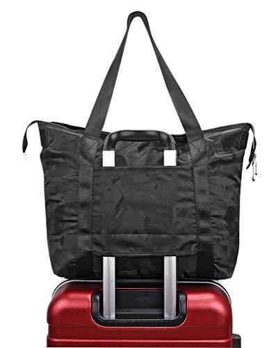 - Women's Travel Tote Shoulder Handbag,Super Polyester Fibre Extra Large Lightweight Water Resistant Camouflage Black