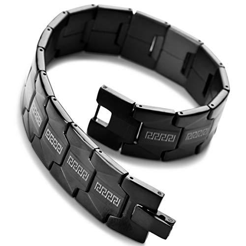 INBLUE Men's Stainless Steel Bracelet Link Black Greek